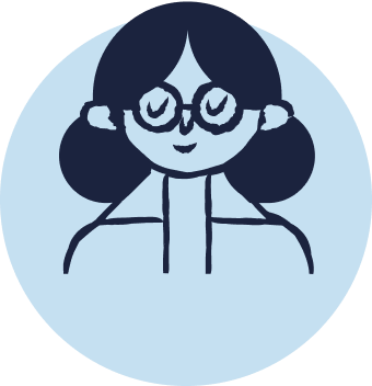Blue cartoon icon shows a woman with glasses smiling peacefully with her eyes closed