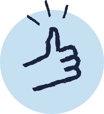 Blue cartoon icon of a hand doing a thumbs up gesture