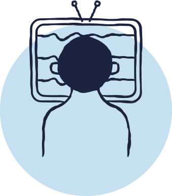 Blue cartoon icon shows the back of a man's head. He is looking at a screen in front of him.