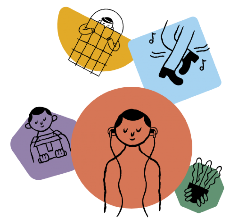 Five colourful cartoon icons show people doing activities to support their wellbeing, including dancing, gardening, listening to a podcast and sleeping.