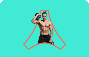 A shirtless man lifting a kettle bell in front of a light blue background