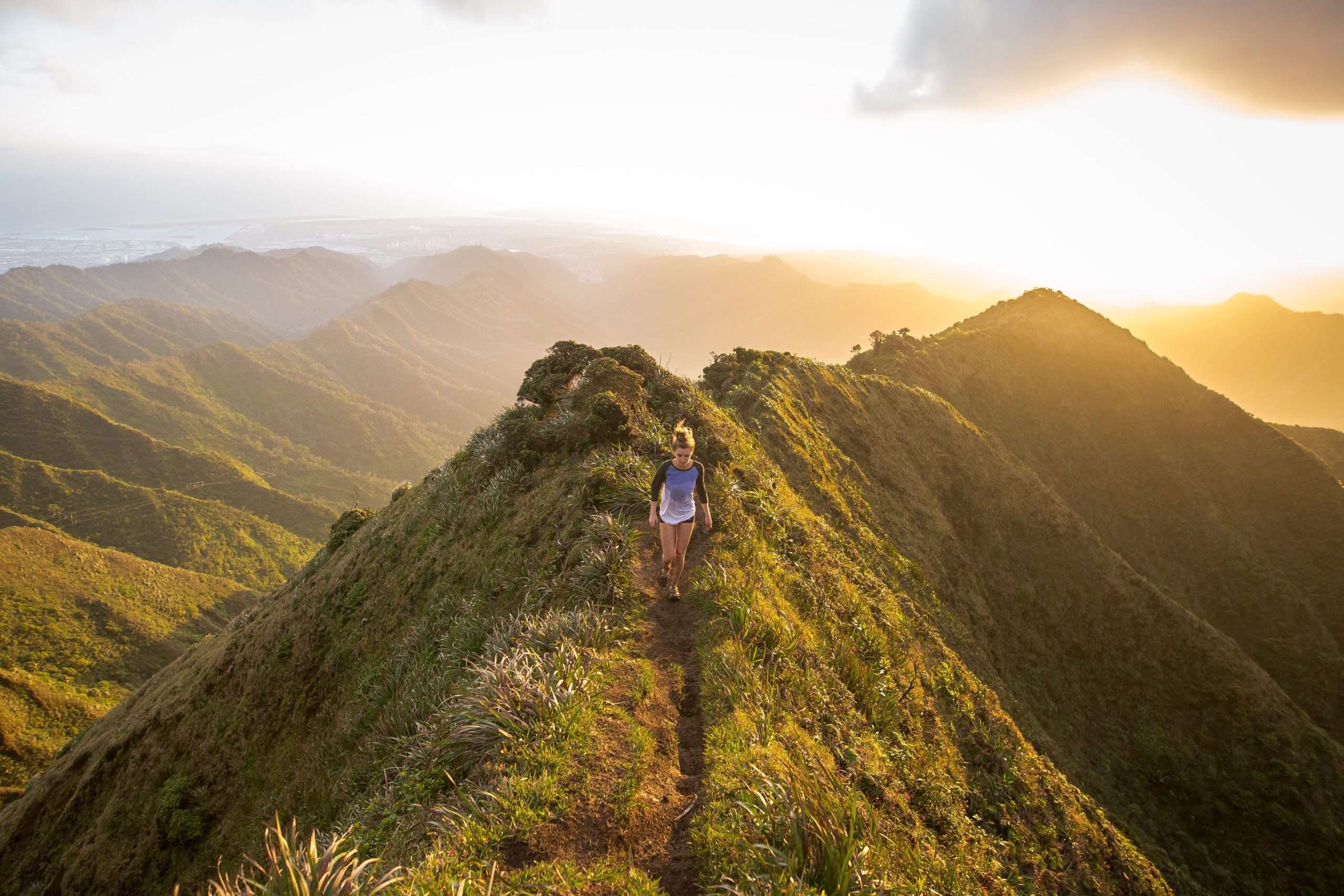 person hiking in nature