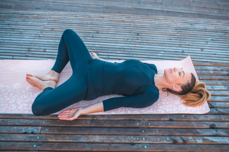 Reclining butterfly pose